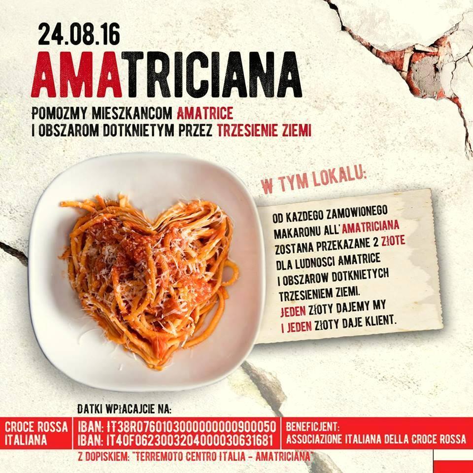 all'amatriciana, przepis na pastę all'amatriciana, trzęsienie ziemi we Włoszech, polishbloggersforitaly